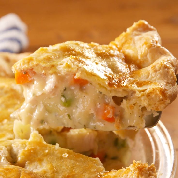 Making your own crust takes this pot pie to the next level. Get the recipe at Delish.com. #delish #easy #recipe #chickenpotpie #chicken #homemade #best #fromscratch #creamy #classic #comfortfood #oven #bake