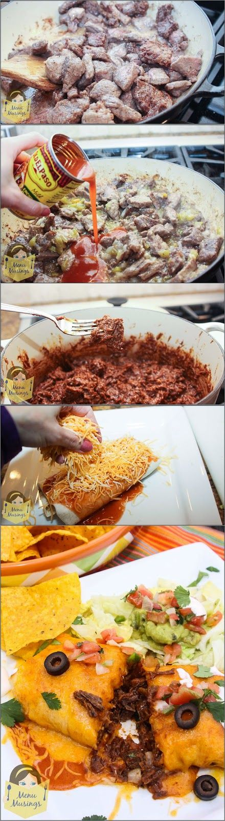 Chili Colorado Burritos - chunks of beef slow simmered in a Mexican style red chili sauce until they are basically falling apart tender, all wrapped up in a burrito and smothered with cheese. Step-by-step photos! ♥