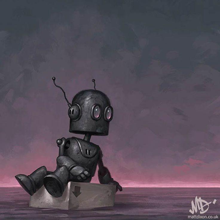 Avec sasérie Transmissions,l'illustrateur anglaisMatt Dixonmet en scène des petits robots adorables dans des compositions douces et poétiques, mais t
