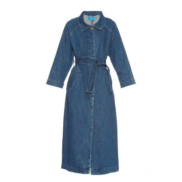 M.i.h Jeans Raglan-sleeves denim coat (€540) ❤ liked on Polyvore featuring outerwear, coats, denim, raglan sleeve coat, denim coat, oversized coat, mih and raglan coat