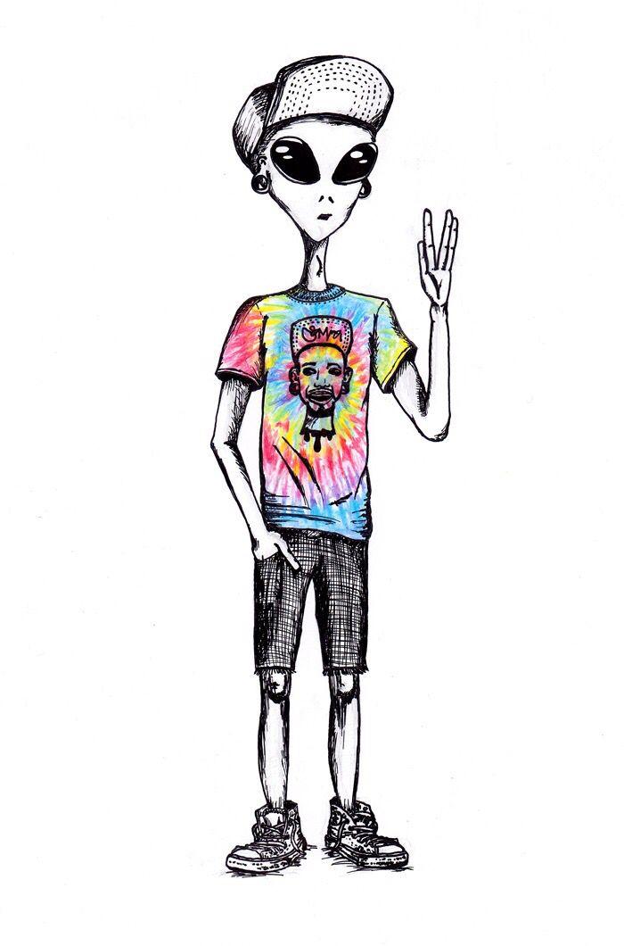 Alien boy in human tie Dye