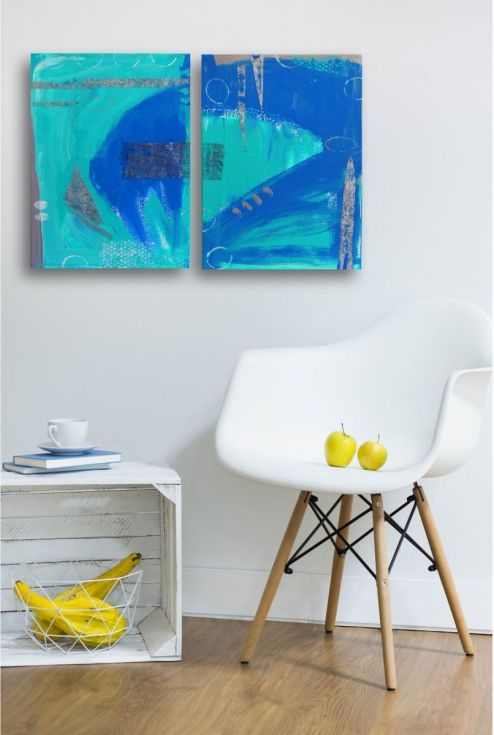 ARTFINDER: Blue abstract  (Diptych ) by Ewa Dabkiewicz - Original acrylic painting mix media on canvas - diptych from EVARTSTUDIO ready to hang, pictures has  painted sides  Artwork is a composition of  TWO pain...