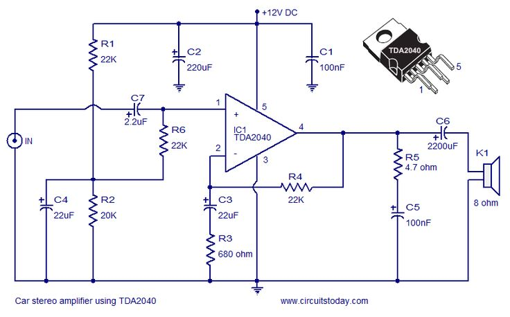 Car Amplifier Circuit Using Tda2040