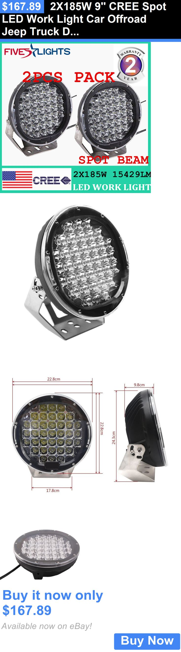 Motors Parts And Accessories: 2X185w 9 Cree Spot Led Work Light Car Offroad Jeep Truck Driving Lamp Black Us BUY IT NOW ONLY: $167.89