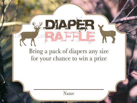 Buck or Doe Realtree Camo Baby Shower Gender Reveal Party Diaper Raffle Ticket / Camo Diaper Raffle /  Digital File 3x4 on Etsy, $2.99