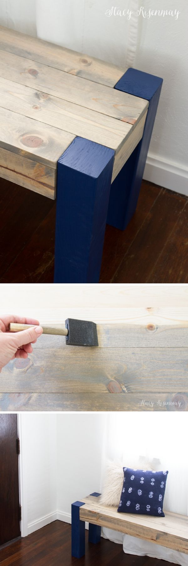 Check out this easy idea on how to make a #DIY bench for #homedecor on a #budget #crafts #project @istandarddesign
