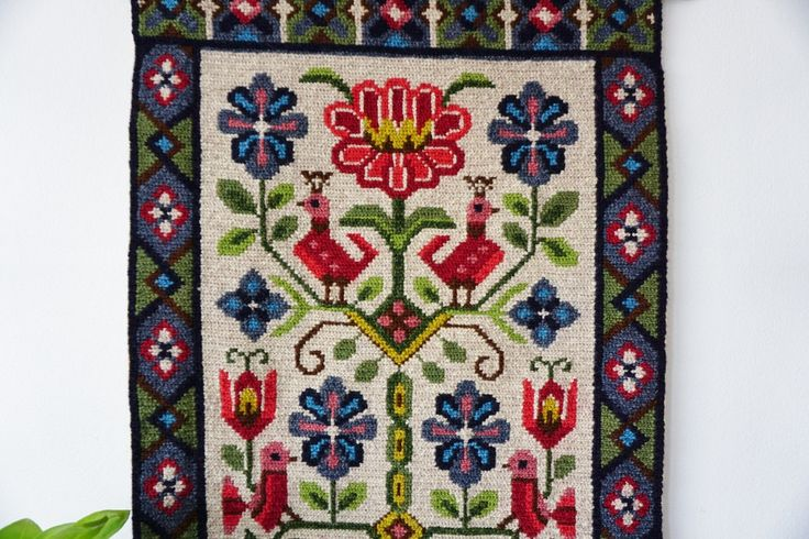 Swedish twist stitch wool embroidered/ Swedish tapestry/ Wool Hand Embroidered Textile from 1969 Twist Stitch Scandinavian Textile by ScandicDiscovery on Etsy