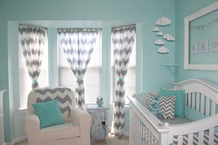 This is exactly what I had in Mind: Aqua or Teal and gray chevron curtains.