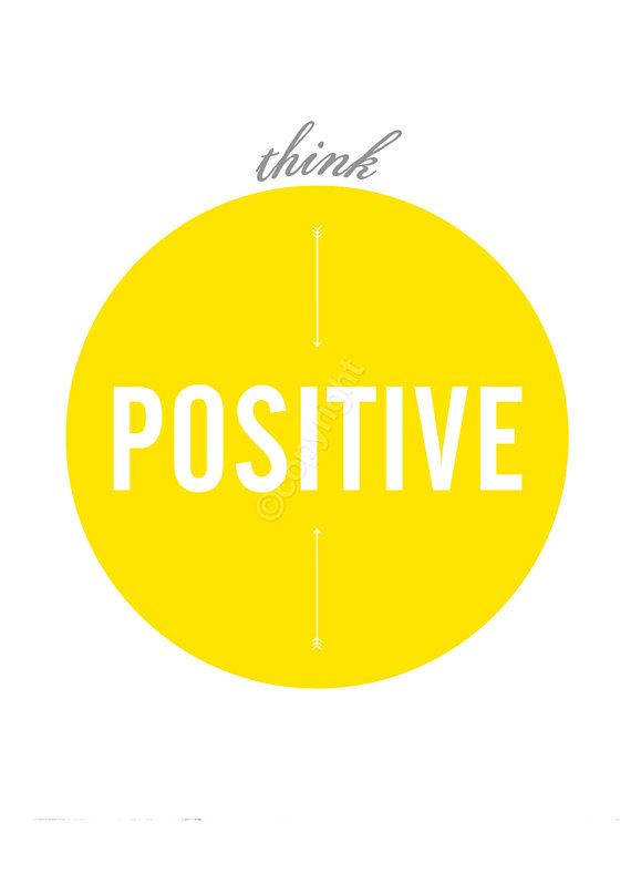 Think Positive Fun 8x10 inch on A4 Print in Yellow by theloveshop