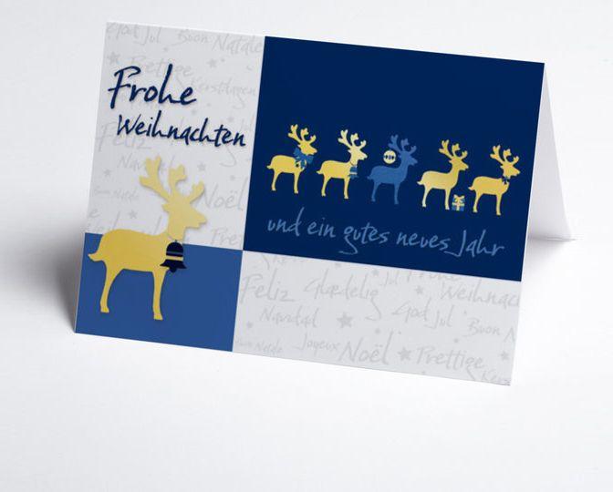 Weiß-blaue Team-Weihnachtskarte mit Weihnachtsgrüßen und Rentieren  http://www.weihnachtskarten-plus.de/weihnachtskarten/teamwork-weihnachtskarte/494-artnr-150092-a-rentiere-mit-weihnachtsgruss.html