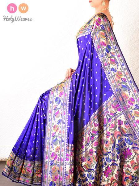 Purple- Royal Blue Paithani Handwoven Katan Silk Saree