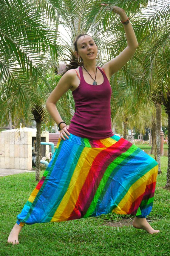 Thai Harem Pants in Cotton Multicolor Wide Blue and by Amonchai