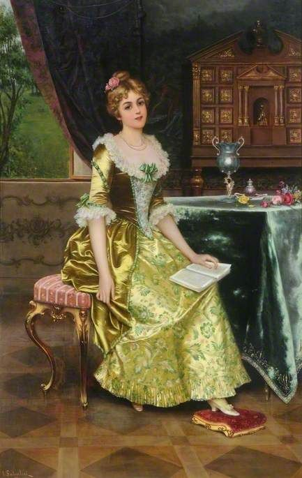 Lady Holding a Book [alternative title: Portrait of a Lady] (late 19th century). I. Sabatini (Italian, active late 19th century). Oil on canvas. Cooper Gallery, Barnsley. The work was painted in Florence but it is believed that it was acquired in London from the Royal Institute of Oil Painters. Sabatini's work is characterised by meticulous execution, as seen in the representation of the sitter's fine lace collar and cuffs, hair and jewels. All of his works are highly decorative.