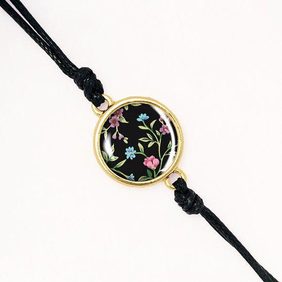 Indie Grunge Floral Boho Bracelet, Handmade Glass Cabochon, Silver, Antique Bronze, KC Gold BCZA01R04K08