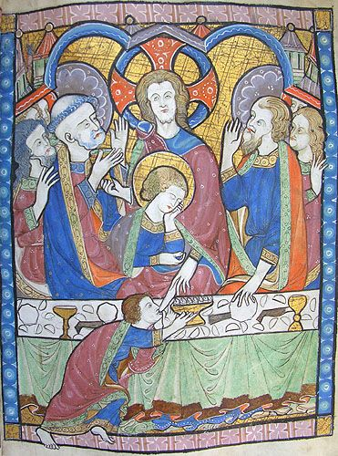 the Last Supper -  MS K.26, one of a sequence of 46 Biblical illustrations (c.1270-80) inserted at the front of a fourteenth-century Psalter (English)