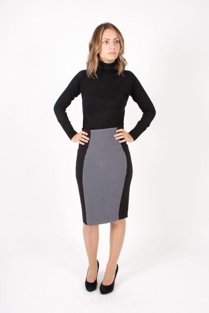 Falda ajustada de tubo combinada con de doble tela.