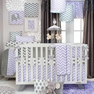 Lavender, grey and white are the perfect color combination for the ever popular chevron pattern. Clean and contemporary bedding is easily accessorized with a wide selection of accessories. All prints are 100% cotton.