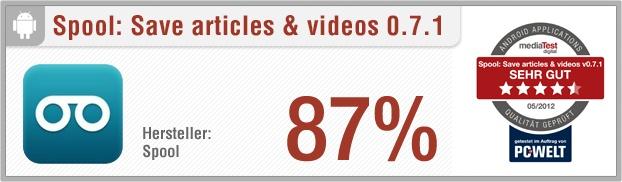 """App-Test: Spool: Save articles & videos - Mit der Android-App """"Spool: Save articles and video"""" kann der Nutzer Artikel von Nachrichtenportalen und Videos speichern und sich auf sein Smartphone schicken lassen. Weitere Infos auf unserem Portal: http://www.apptesting.de/"""