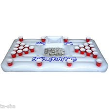 Go Pong Pool Party Barge Floating Beer Pong Table with Cooler, White, 6-Feet