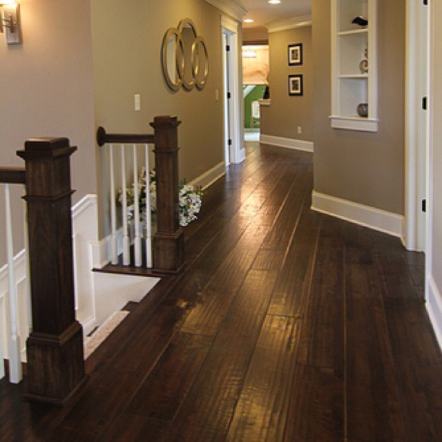 Dark hardwood floors with tan paint flooring pinterest Paint colors that go with grey flooring