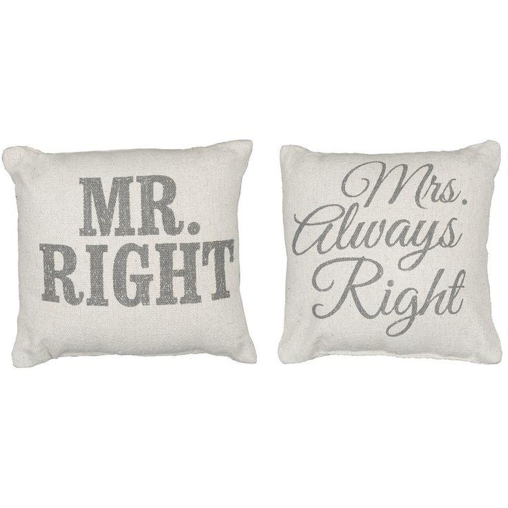 Rustic Mr/Mrs. Right Accent Pillows | POSH365INC