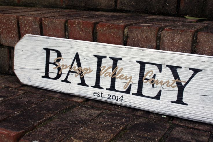 Home Closing or Housewarming Gift Idea - Last name painted wood sign with street name of new home overlay from Signs By Andrea.