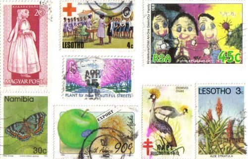 colourful stamps used to create a postcard