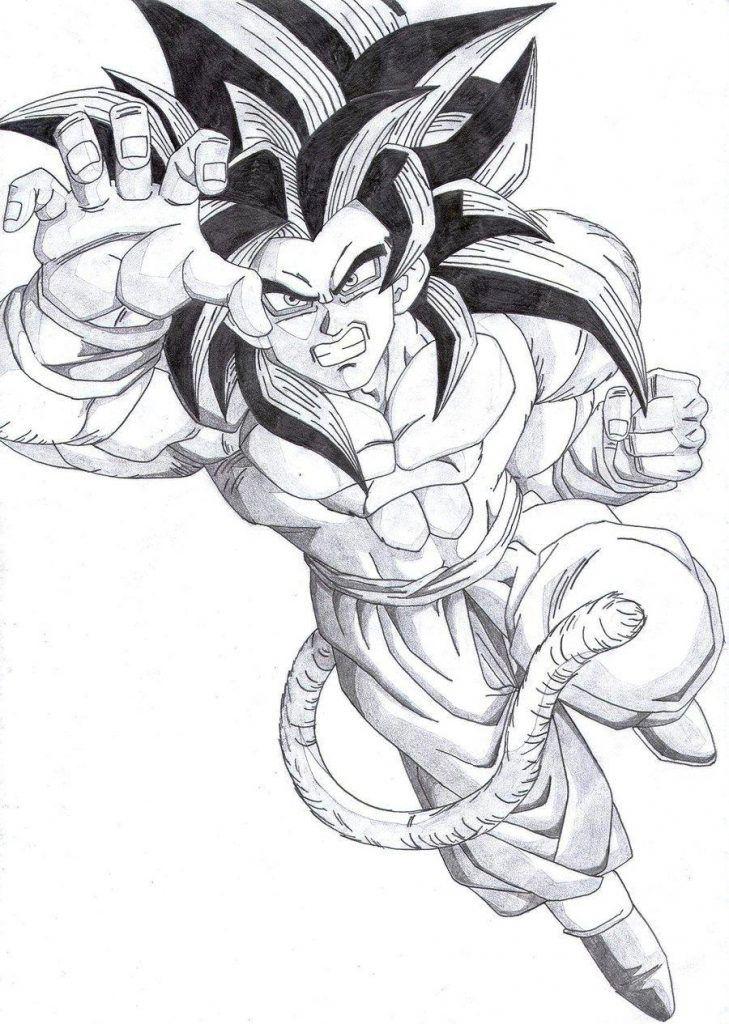 Goku Super Sayayin Fase 4 Para Colorear Goku A Lapiz Dibujo De Goku Dibujos
