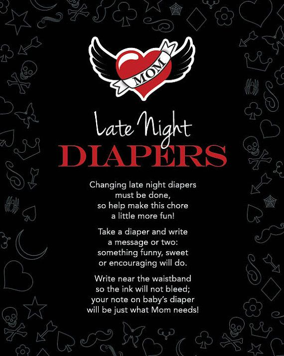 Instant Download Tattoo Late Night Diapers 8x10 by Studio20Designs