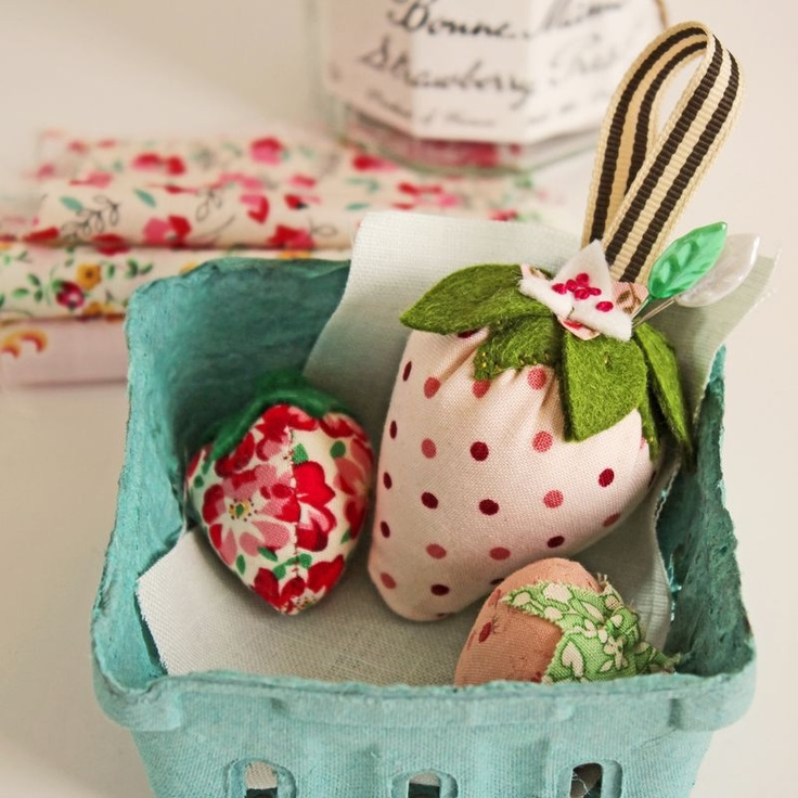 Heather Bailey's Strawberry pincushion pattern, sewn by Amy of Nana Company.