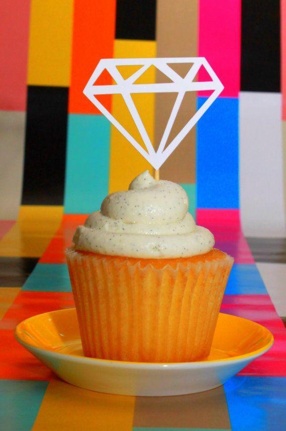20 WHITE diamond jewel engagement cupcake topper