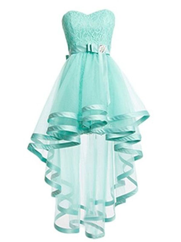 Beautiful ocean blue high-low prom dress