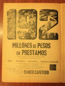 Aviso publicitario Banco Cafetero. Edición 58 de 1956.  Fotografía tomada por el…