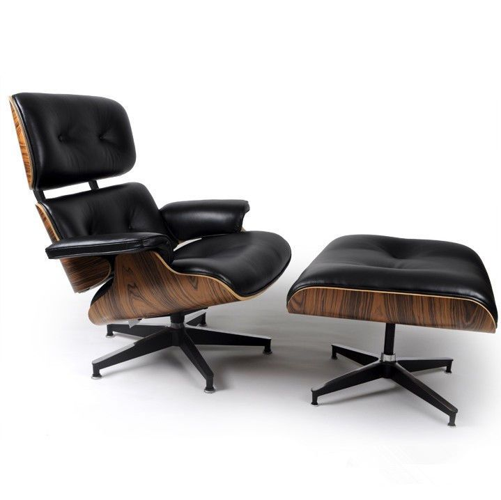 Palisander Wood Eames Style Lounge Chair Ottoman Premium Top Grain Black Leather