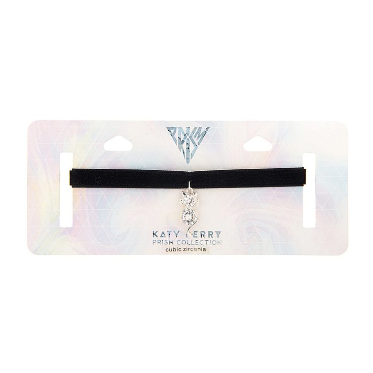 Katy Perry Black Velvet Choker with Crystal Cat Pendant Necklace