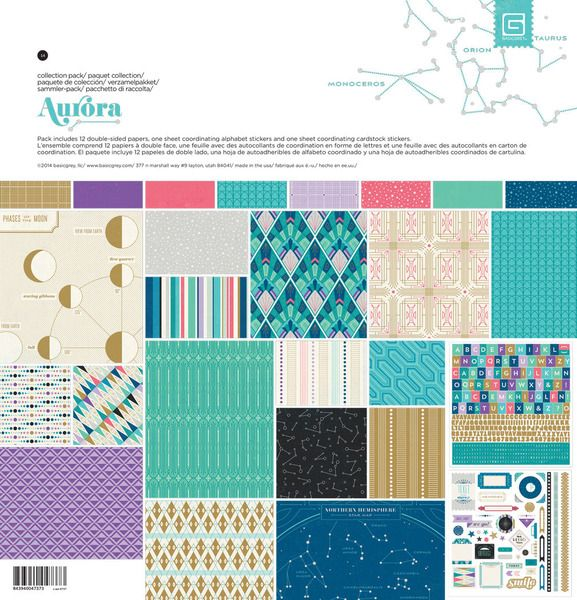 BasicGrey - Aurora Collection - 12 x 12 Collection Pack at Scrapbook.com