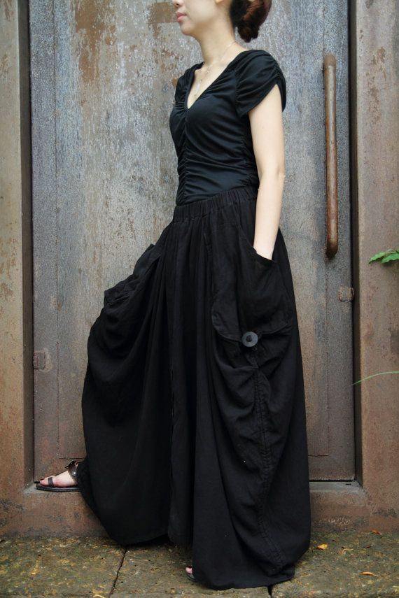 Black Magic soft cotton long skirt with unique by smileclothing $59.00 | Pinterest | Black ...