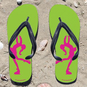 Figure Skater Silhouette on Lime Green Flip Flops - Kick back after a performance with these great flip flops! Fun and functional flip flops...