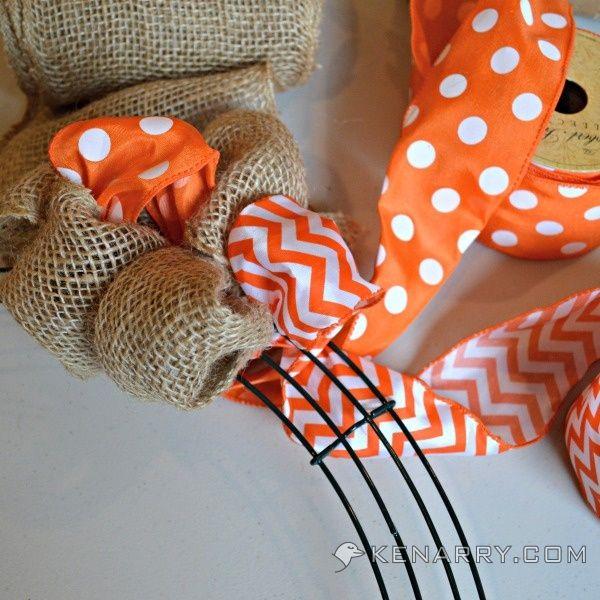 Hometalk :: DIY Summer Burlap Wreath: Orange Chevron and Polka Dot