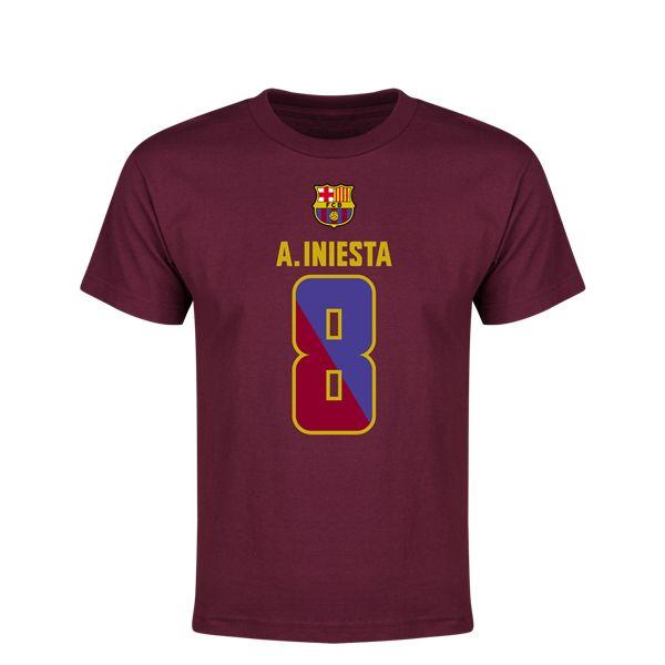 Iniesta FC Barcelona 2-Tone Youth T-Shirt (Maroon)