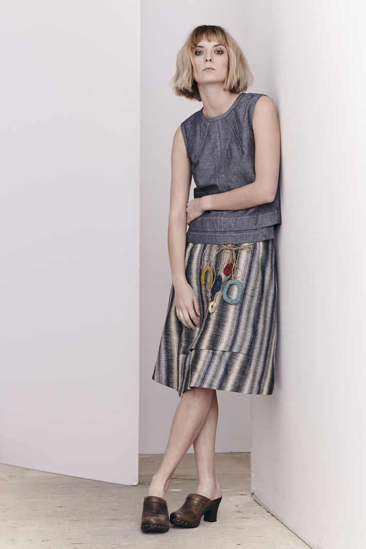 Washed Herringbone Reese Top and Linen Stripe Marlowe Skirt  www.comrags.com