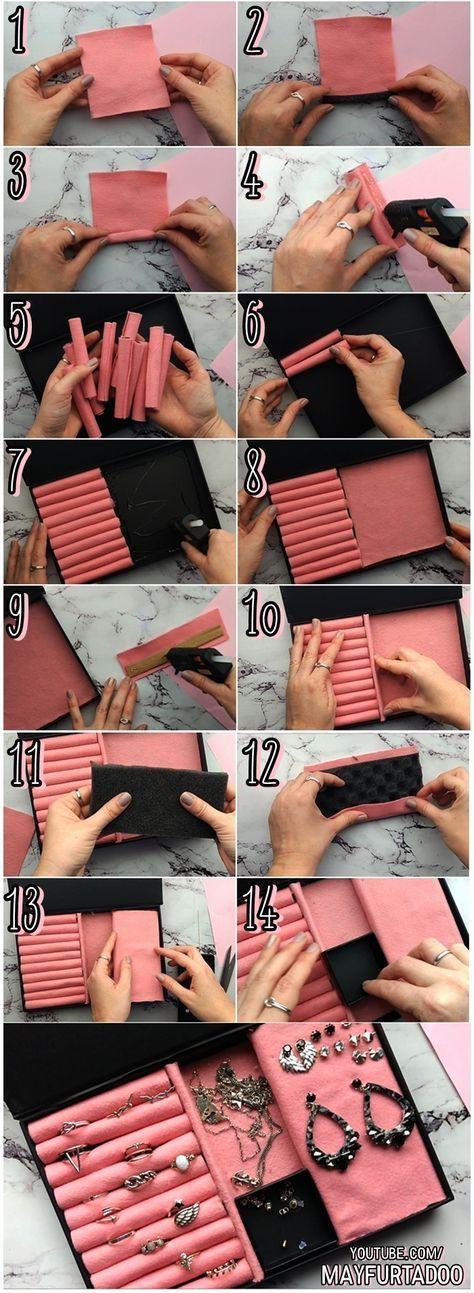 DIY-Schmuckschatulle unter Verwendung der alten Pappschachtel. #favocemesmo #tutorial #DIY