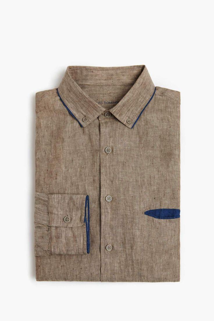 Contrast Linen Shirt
