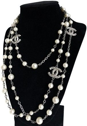 795ddeacd7 Chanel Silver Price Dropped Faux Pearl Crystal 3 Cc Long Necklace - Tradesy