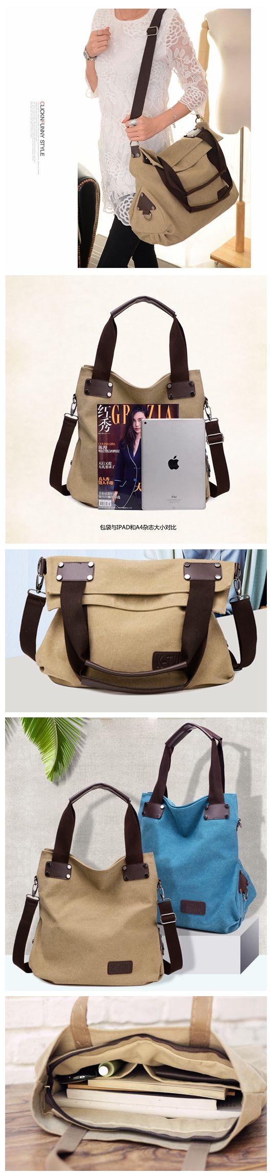 Canvas Leather Satchel Bag, Waxed Canvas Messenger Bag Crossbody Bag Shoulder Bag