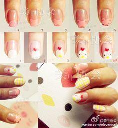chicken and pig nail art