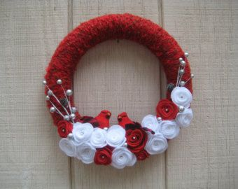 SALE Christmas wreath Christmas yarn wreath by JoiedeVivreCrafts