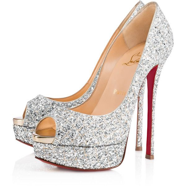 FETISH PEEP 150 SILVER LIGHT GOLD Glitter - Women Shoes - Christian...  ( 945) ❤ liked on Polyvore featuring shoes 52c298cee