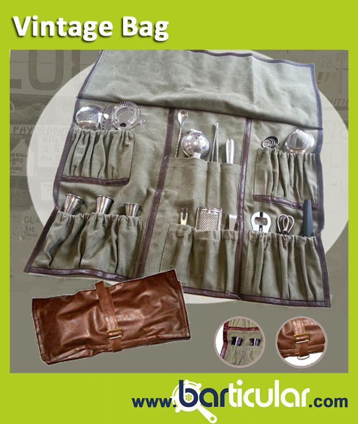 Vintage Bag, la borsa professionale in cuoio che contiene tutti gli accessori Mixology. http://www.barticular.com/store/kit-completi-barman/vintage-bag-set-completo-accessori-mixology