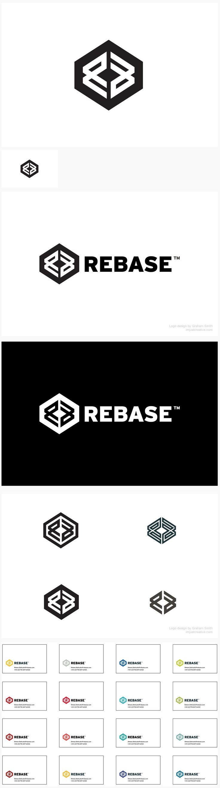 Clean Cool Modern Logo design // ReBase //  Logo design for database software developer, ReBase.  Many ideas were sketched and developed, but in the end it was the very last idea that was chosen. The logomark is formed from the initials R & B, even though the brand name is presented as one word, the client will be capitalising 'Base'.  http://imjustcreative.com/portfolio/rebase